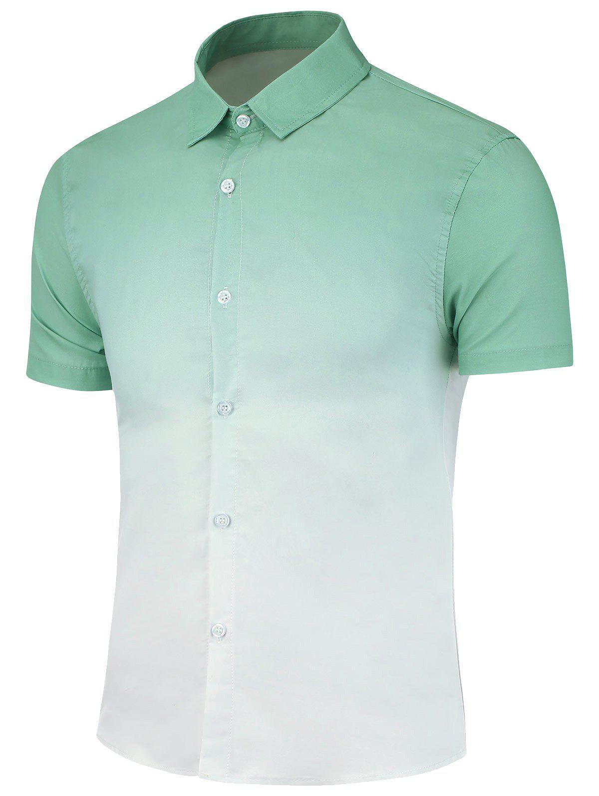 Slim Fit Ombre Print Casual Shirt - GREEN 3XL