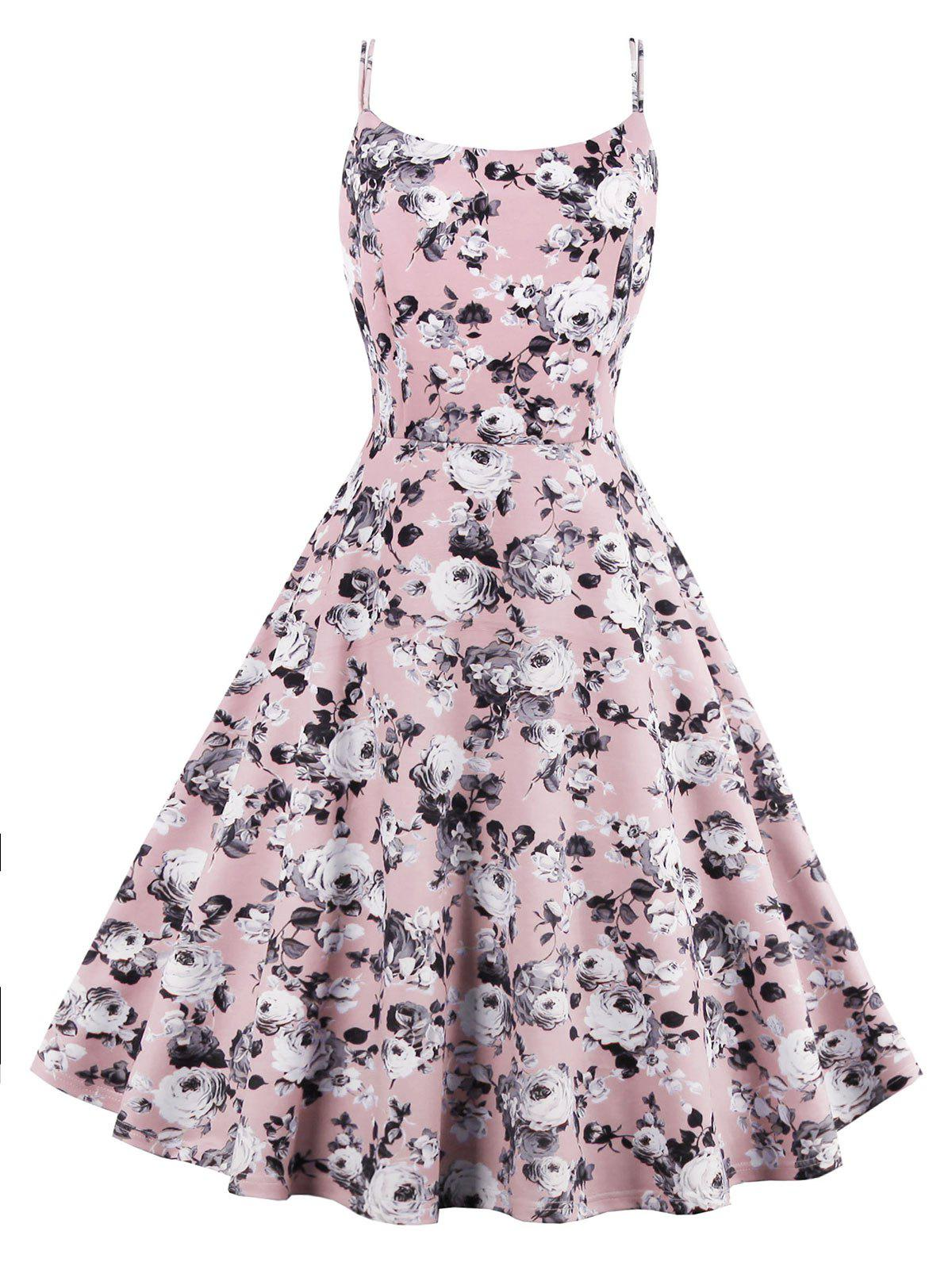 Roses Printed High Waist Flare Sun Dress - PINK L