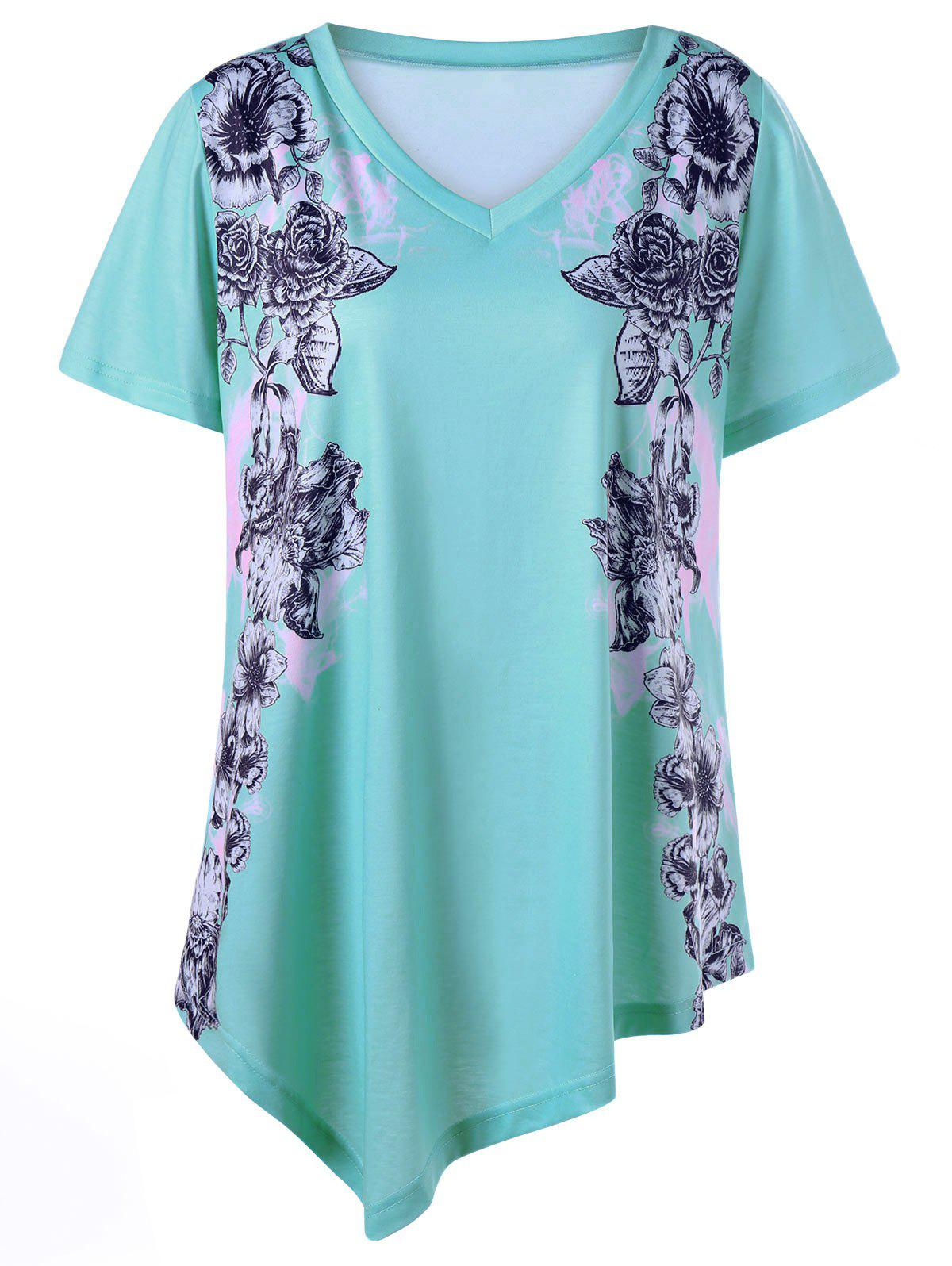 Floral Asymmetrical Plus Size V Neck Tunic - LIGHT GREEN XL