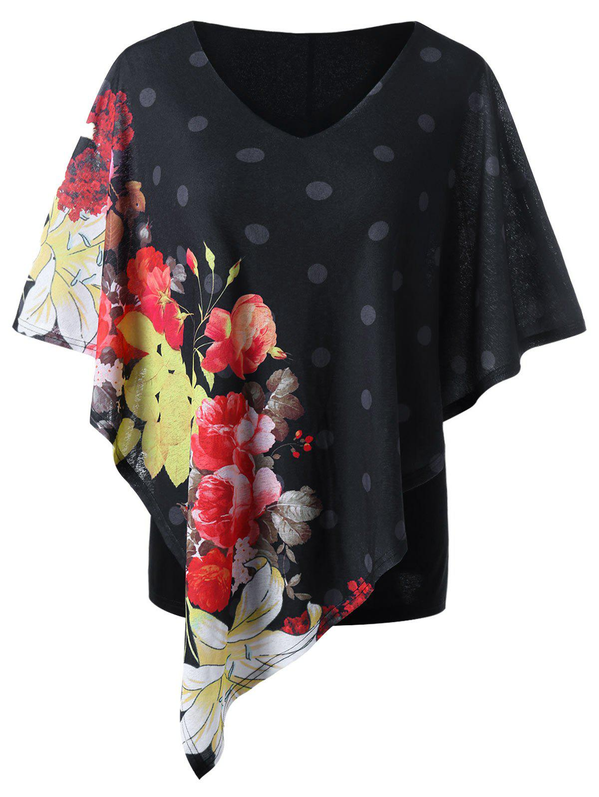 Plus Size Floral Capelet T-shirt - BLACK XL