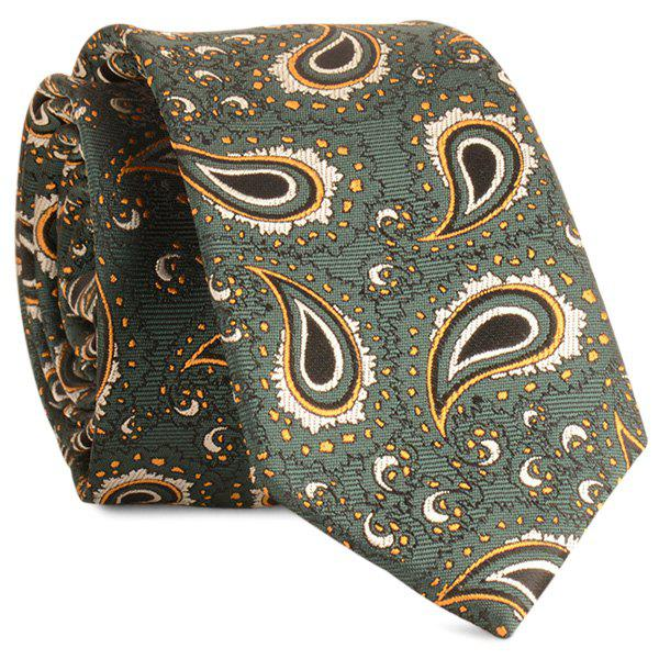 Jacquard Fabric Paisley Pattern Neck Tie - BLACKISH GREEN