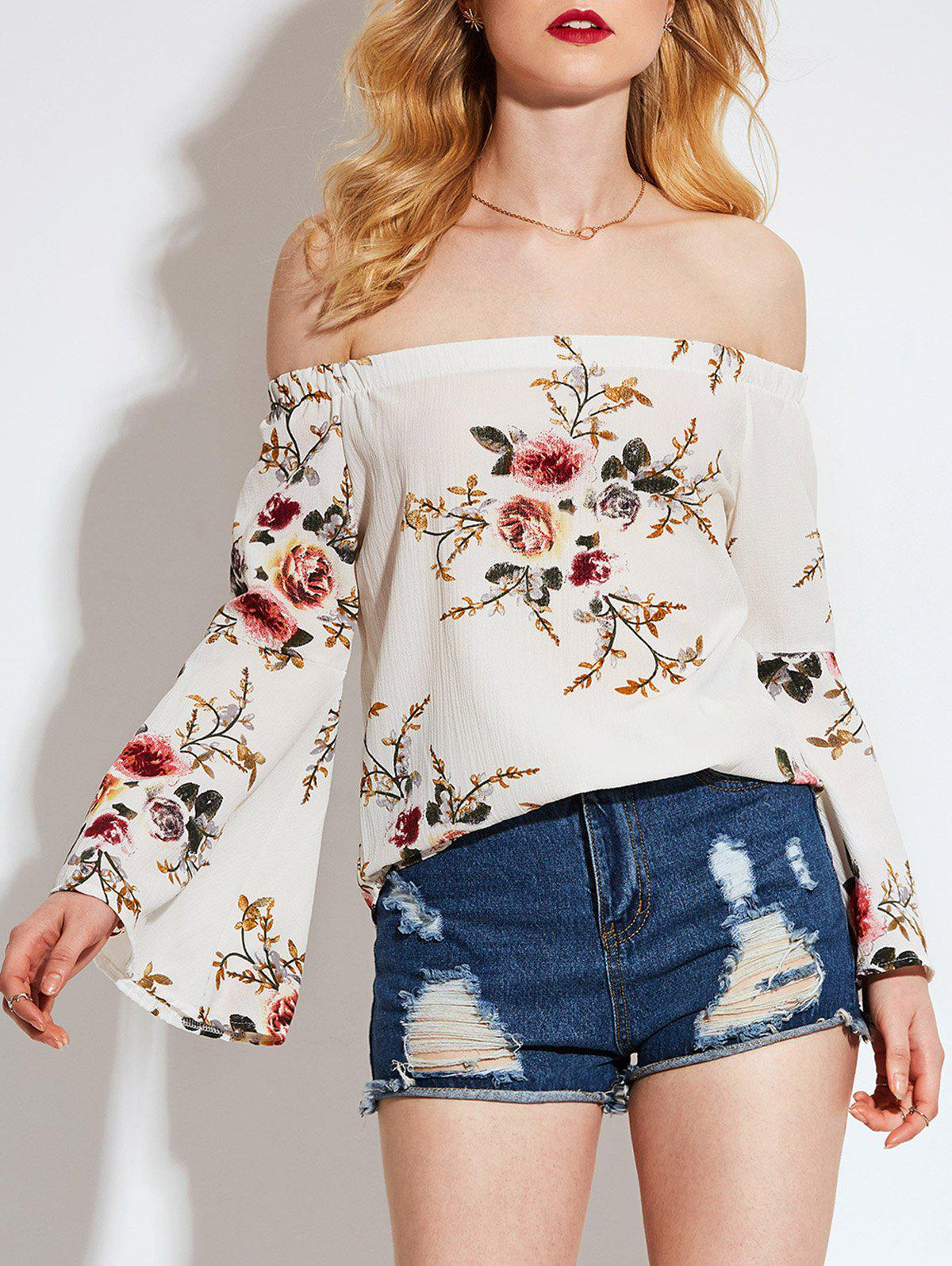 Floral Printed Off Shoulder Flared Sleeve Blouse - OFF WHITE L