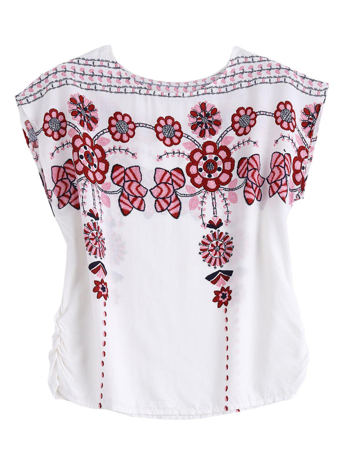 Floral Print Sheer Top - WHITE ONE SIZE