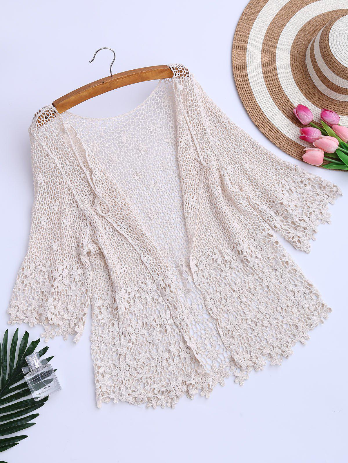 Hollow Out Crochet Kimono Beach Cover Up - PALOMINO ONE SIZE