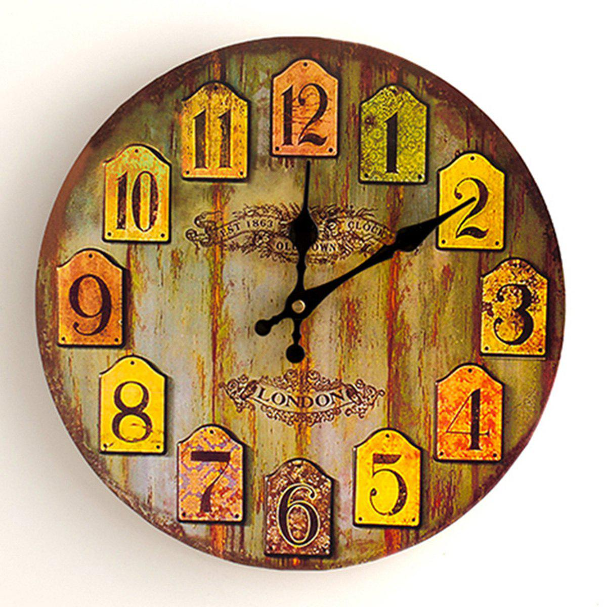 Vintage Wood Analog Number Round Wall Clock - WOOD COLOR 50*50CM