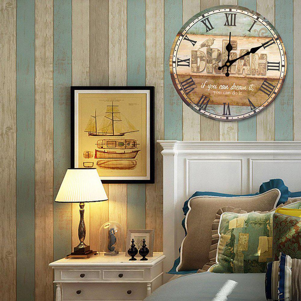 Dream Analog Wood Wall Round Clock - COLORMIX 50*50CM
