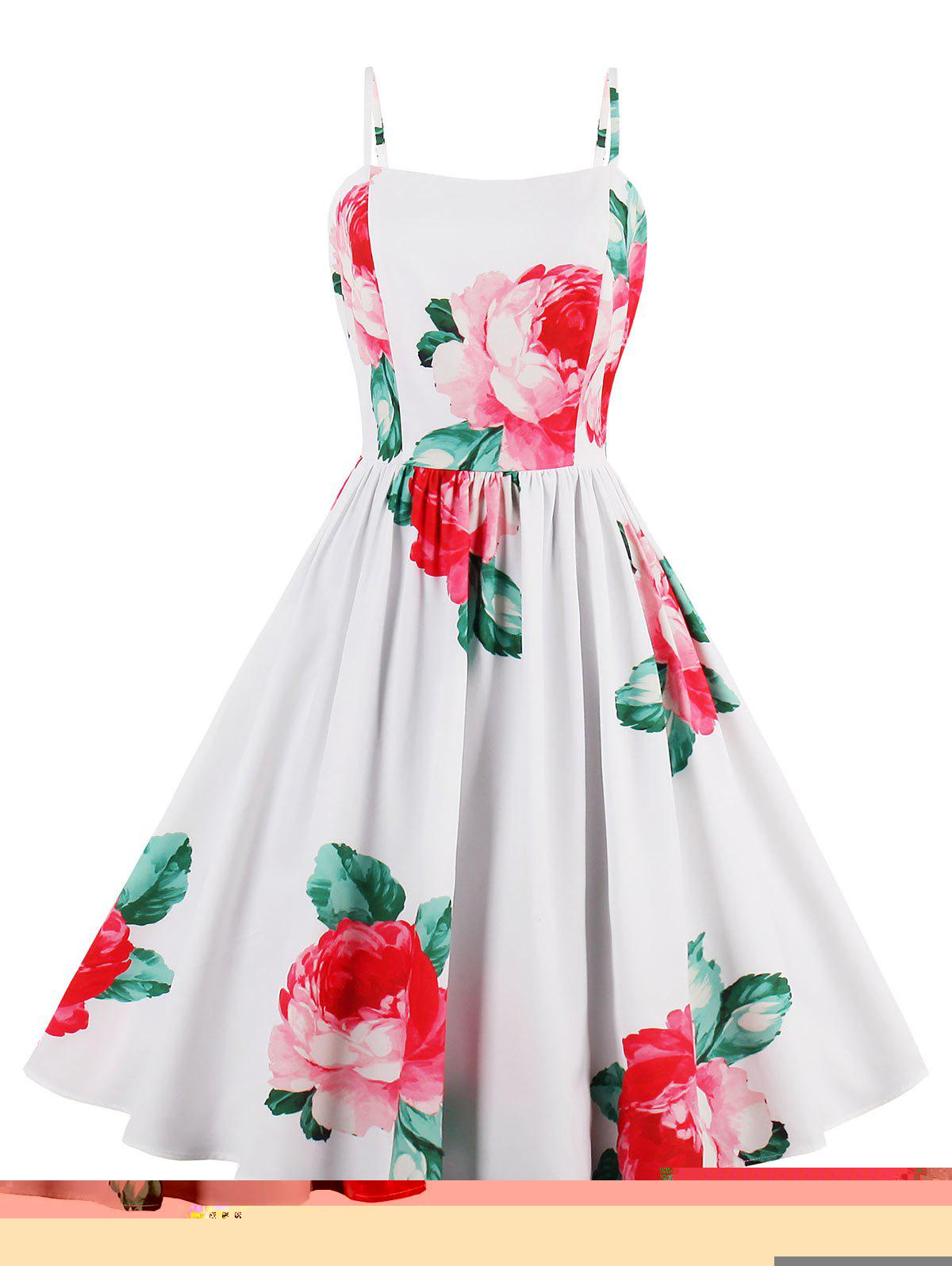 Flower Print A Line Sleeveless Sundress - WHITE S