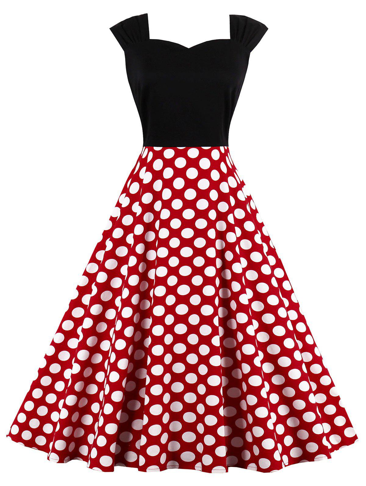 High Waist Sleeveless Polka Dot 50s Dress - RED XL