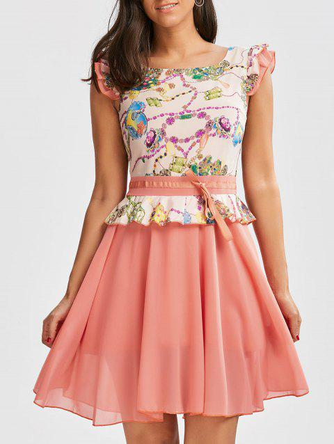 Ruffle Printed Chiffon Dress - PINK XL