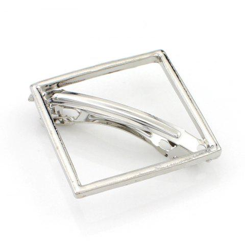 Simple Solid Color Hollow Out Square Hairpin For Women - SILVER