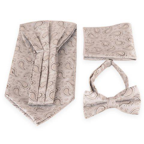 Paisley Pattern Ascot Tie Bowtie and Handkerchief - SILVER WHITE
