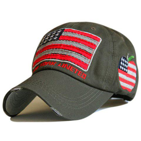 053fc74a1b8 Letters Embroidered American Flag Patchwork Baseball Hat - ARMY GREEN