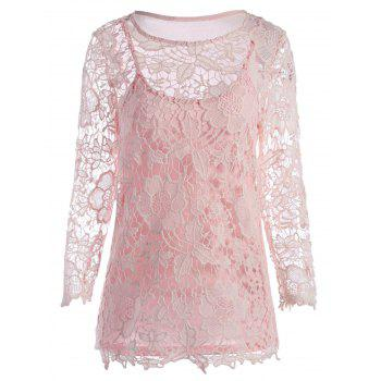Lace Openwork Tee with Cami Top
