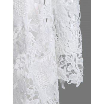 Lace Openwork Tee with Cami Top - WHITE L