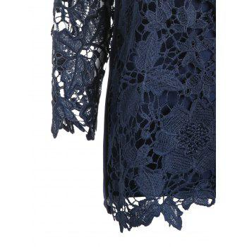 Lace Openwork Tee with Cami Top - DEEP BLUE L