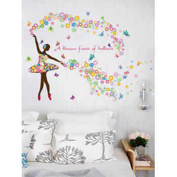 Floral Quotes Butterfly Dancing Girl Wall Sticker
