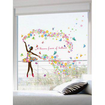 Floral Quotes Butterfly Dancing Girl Wall Sticker - Coloré 60*90CM