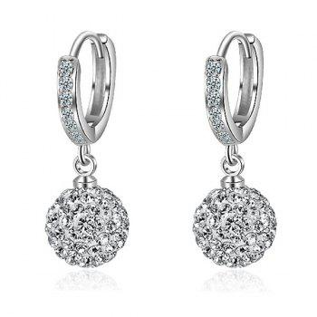 Rhinestoned Ball Silver Plated Earrings - SILVER
