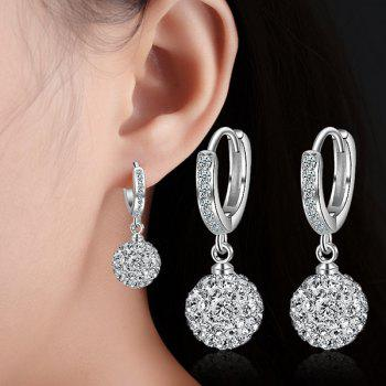 Rhinestoned Ball Silver Plated Earrings