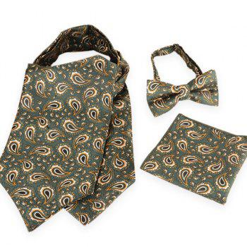 Paisley Pattern Ascot Tie Bowtie and Handkerchief - BLACKISH GREEN BLACKISH GREEN