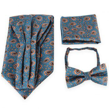 Paisley Pattern Ascot Tie Bowtie and Handkerchief - BLUE BLUE