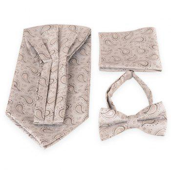 Paisley Pattern Ascot Tie Bowtie and Handkerchief - SILVER WHITE SILVER WHITE