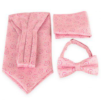 Paisley Pattern Ascot Tie Bowtie and Handkerchief - LIGHT PINK LIGHT PINK