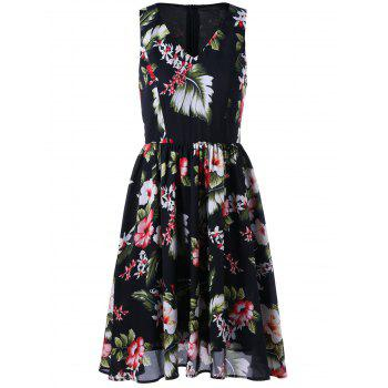 V Neck Sleeveless Floral Tropical Printed  Dress