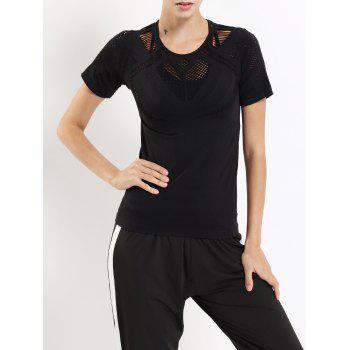 Exercise Hollow Out Round Neck T-shirt