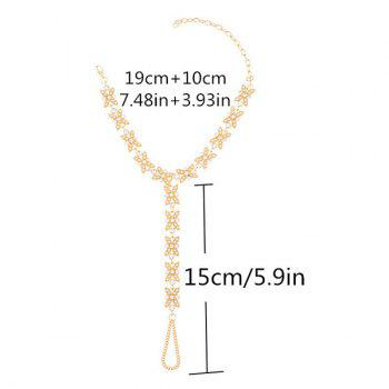 1PC Faux Pearl Rhinestone Slave Chain Anklet - Or