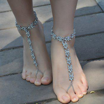 1PC Faux Pearl Rhinestone Slave Chain Anklet - SILVER SILVER