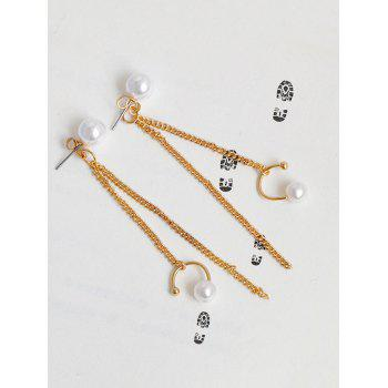 Faux Pearl Fringed Front Back Earrings