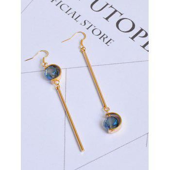 Faux Sapphire Bar Ball Hook Earrings