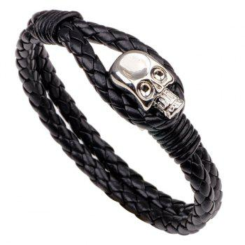 Faux Leather Skull Braided Bracelet