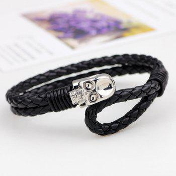 Faux Leather Skull Braided Bracelet -  SILVER