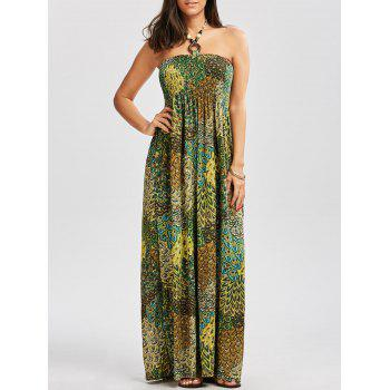 Halter Shirred Printed Dress with Accessory Design