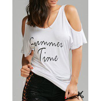Cold Shoulder Graphic Print Long Tee