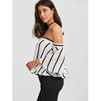 Striped Off The Shoulder Smocked Blouse - S S
