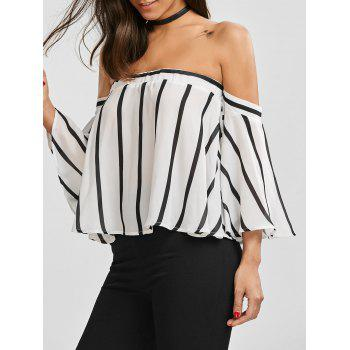 Striped Off The Shoulder Smocked Blouse - WHITE AND BLACK M