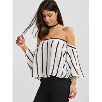 Striped Off The Shoulder Smocked Blouse - XL XL