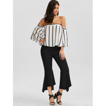 Striped Off The Shoulder Smocked Blouse - WHITE/BLACK WHITE/BLACK