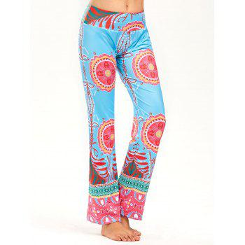 Print Wide High Waistband Straight Pants