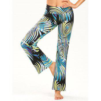 Print Elastic Wide Waistband Straight Pants