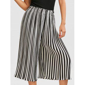 Chiffon Striped Pleated Palazzo Pants