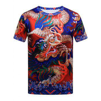 Short Sleeve Dragon Pattern T-shirt