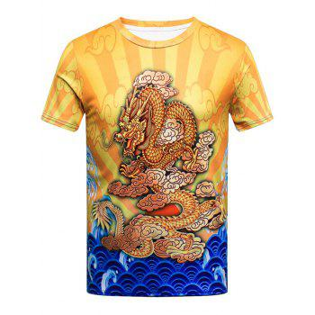 Color Block Short Sleeve Dragon Print T-shirt