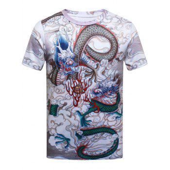 Short Sleeves Dragon Printed T-shirt