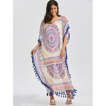 Tassel Bohemian Chiffon Maxi Cape - COLORMIX ONE SIZE(FIT SIZE XS TO M)