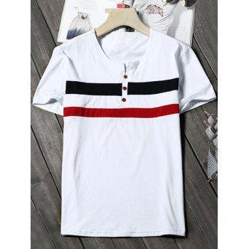 Striped Notch Neck Button Tee