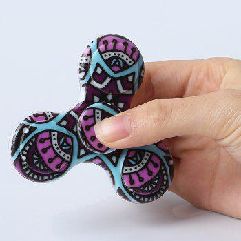 Mandala Patterned Plastic Tri-bar Fidget Spinner - Pourpre